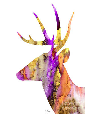 Deer Silhouette Painting - Deer 5 by Slaveika Aladjova