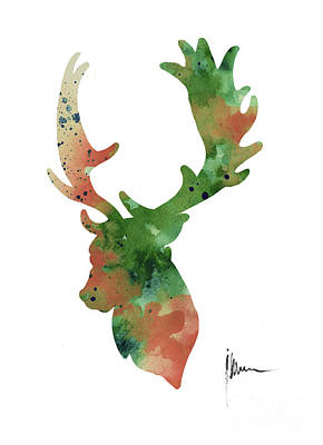 Mammals Mixed Media - Deer Antlers Silhouette Watercolor Art Print Painting by Joanna Szmerdt