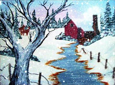 Deer At The Grist Mill Print by Barbara Griffin