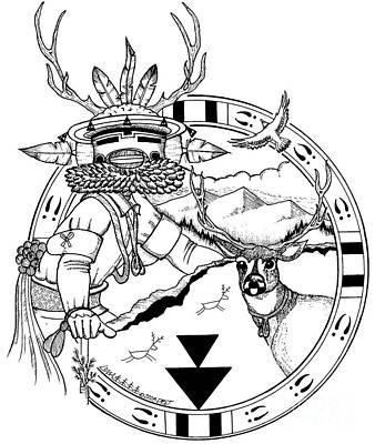 Hopi Drawing - Deer Brotherhood by Dalton James