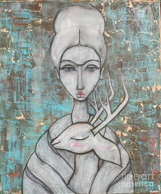Deer Painting - Deer Frida by Natalie Briney
