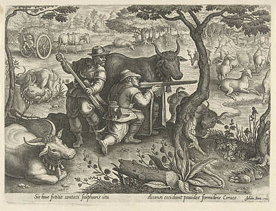 Deer Hunting Using Camouflage, Albert Flamen Print by Albert Flamen And Jacques Van Merlen