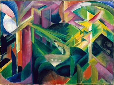 Blue And Red Painting - Deer In A Monastery Garden by Franz Marc