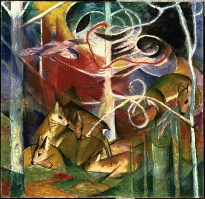 Blue And Red Painting - Deer In The Forest I by Franz Marc