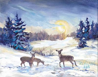Deer In Winter Landscape  Original by Peggy Wilson