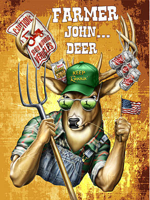 Deer John Deer Print by Jim Baldwin