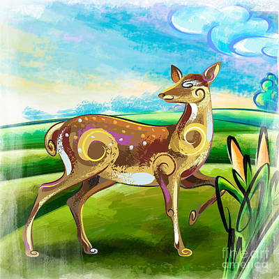Wales Mixed Media - Deer Over Hill by Bedros Awak