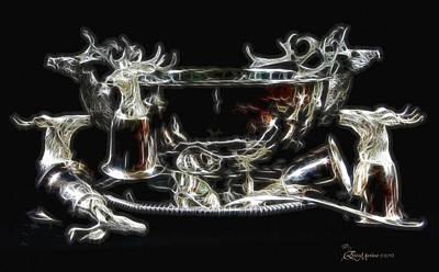 Deer Punch Bowl Set Print by EricaMaxine  Price