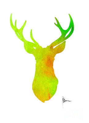 Abstract Deer Painting - Deer Silhouette Art Print Painting Antlers Home Decor by Joanna Szmerdt