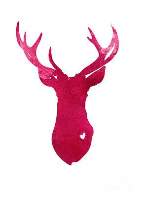 Deer Mixed Media - Deer Silhouette Painting Watercolor Art Print by Joanna Szmerdt