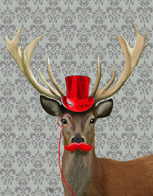 Deer With Top Hat And Moustache Red Print by Kelly McLaughlan