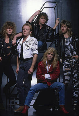 Def Leppard Photograph - Def Leppard - Group Stairs 1987 by Epic Rights