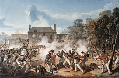 Defence Of The Chateau De Hougoumont Print by Denis Dighton