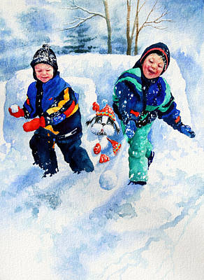 Snowball Fights Painting - Defend Our Front Yard by Hanne Lore Koehler