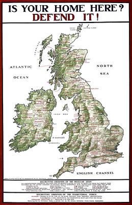 Defend The United Kingdom - 1915 Print by Daniel Hagerman