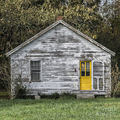 Defiant Yellow Door - Square Print by Terry Rowe