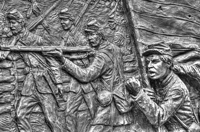 Defy The Enemy.  State Of Delaware Monument Detail-c Gettysburg Autumn Mid-day. Print by Michael Mazaika