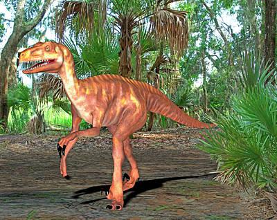 Deinonychus Dinosaur Print by Friedrich Saurer