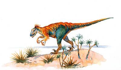 Dinosaur Painting - Deinonychus by Robert Spannring