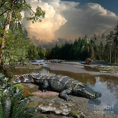 Paleoart Digital Art - Deinosuchus by Julius Csotonyi