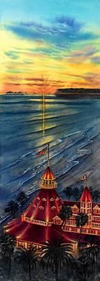 Hotel Del Coronado Painting - Del Before Sunset by John YATO