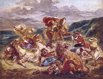 Delacroix, Eug�ne 1798-1863. The Lion Print by Everett