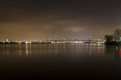 Delaware River And The Ben Franklin Bridge At Night Print by Bill Cannon