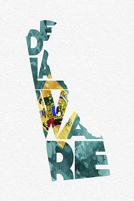 Delaware Typographic Map Flag Print by Ayse Deniz