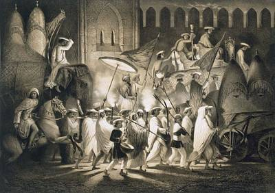 Elephant Drawing - Delhi Cortege And Retinue Of The Great by A. Soltykoff