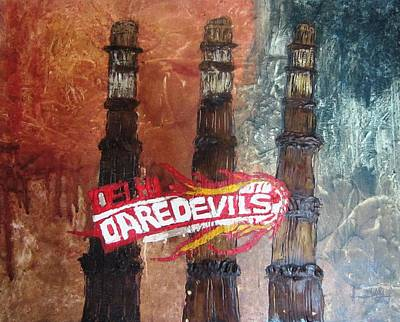 Cricket Mixed Media - Delhi Daredevils In Delhi by Niveditha S