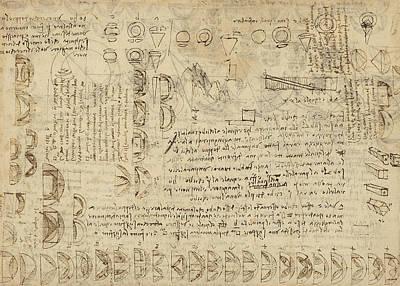 Da Vinci Reproductions Drawing - Delian Problem Or Doubling Cube Equivalence Among Various Parts Of Circle From Atlantic Codex  by Leonardo Da Vinci