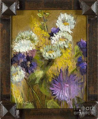 Painting - Delicate Aroma II With Gold Leaf By Vic Mastis by Vic  Mastis