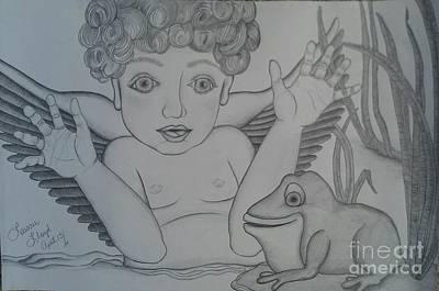 Baby Angel Drawing - Delightful Little Angel by Laurrie Lloyd
