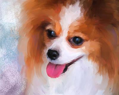 Papillon Dog Painting - Delightful Papillon by Jai Johnson