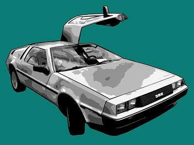 Car Digital Art - Delorean Pop by Lance Vaughn