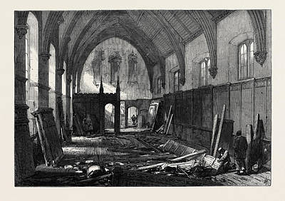 Demolition Of The Old Dining Hall Of The Inner Temple 1869 Print by English School