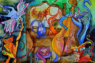 Animation Painting - Demon Cats by Beverley Harper Tinsley
