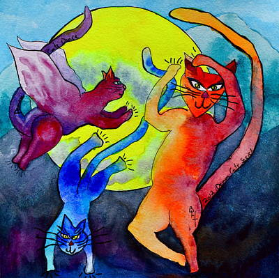 Animation Painting - Demon Cats Dance By The Light Of The Moon by Beverley Harper Tinsley
