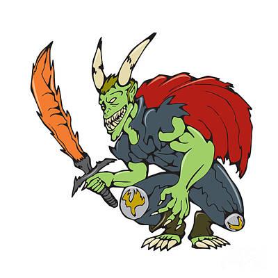 Demon Wield Fiery Sword Cartoon Print by Aloysius Patrimonio