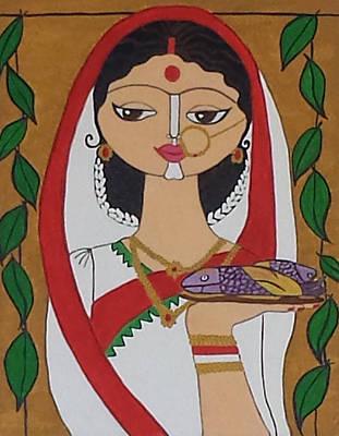 Demure Indian Beauty Print by Meeta Singh