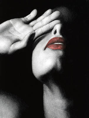 Black Red And White Painting - Denial by Pat Erickson
