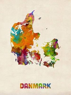 Denmark Digital Art - Denmark Watercolor Map by Michael Tompsett