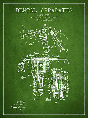 Dental Apparatus Patent Drawing From 1965 - Green Print by Aged Pixel
