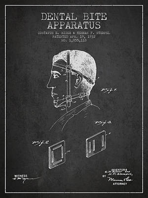 Dental Bite Apparatus Patent From 1932 - Dark Print by Aged Pixel