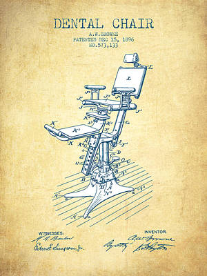 Surgery Drawing - Dental Chair Patent Drawing From 1896 - Vintage Paper by Aged Pixel