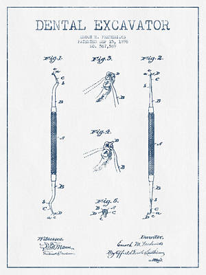 Dental Excavator Patent Drawing From 1896 - Blue Ink Print by Aged Pixel