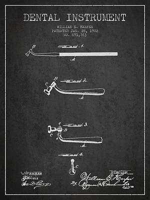 Dental Instruments Patent From 1902 - Dark Print by Aged Pixel