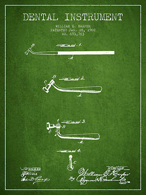 Dental Instruments Patent From 1902 - Green Print by Aged Pixel