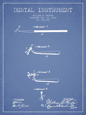 Dental Instruments Patent From 1902 - Light Blue Print by Aged Pixel
