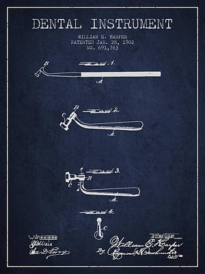 Dental Instruments Patent From 1902 - Navy Blue Print by Aged Pixel